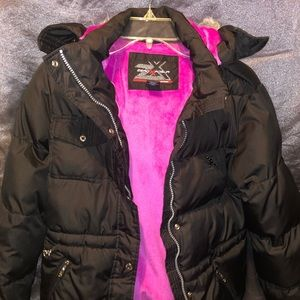 ZeroXposur Girls black with pink lining jacket.